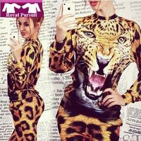 Hot-selling women's sweatshirt  Plus Size 2014 Spring Autumn Set Animal Leopard Tiger 3D Print Hoodie Suit Sportswear for Women