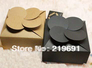 Wholesale 78x78x35mm black or kraft paper box wedding gift cake box Custom silver Logo will cost logo fee MOQ:1000 PCS(China (Mainland))