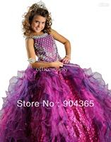 Spaghetti Beads Ballgown Organza Girls Pageant Dress kids Party dresses Ritzee   Abby