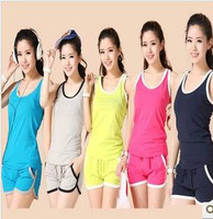 Summer cotton women's 100% sleeveless tank shorts set fitness sports casual set