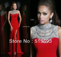 Red Sparkle Dress Fashion Free Shipping Slim Slit Chiffon Long Crystal Prom Dress 2014