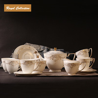 Gift Box Packed!Royal bone china  coffe set, 3D  real gold thread flower  coffe set  ,Set of 15 piece