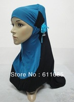 S481a latest two pieces muslim hijab with one flower,fast delivery, $15 off per $150 order
