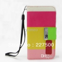 2014 cheap Hot Sale 5pcs/lot New Rotated colored Wallet PU Leather Card Holder Magnetic Flip Cover Case for iPhone 4/4S
