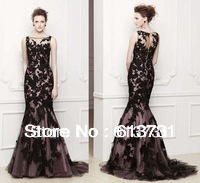 Free Shipping 2014 New Sexy Black Lace Prom dresses Long Mermaid Formal Evening Party Gowns Custom Made BO3310