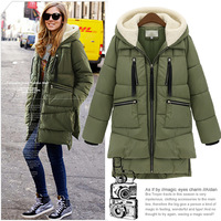 European and American big big yards women's new winter jacket fitted hooded thickening military jacket and long sections 5024