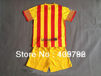 free shipping 13/14 new season #10 Messi NEYMAR INIESTA away Yellow Soccer Jersey Football kit Kids Youth Uniforms Children