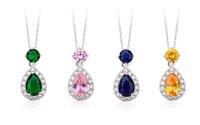 4 COLOR CHOICE Cute Jelly Drop Cubic Zirconia Diamond Pendant Necklaces Jewelry For Woman (JS029) Free Shipping