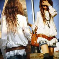 2013 Hot Sale Fashion Women's Long Tunic Top Vintage HIPPIE White Lace Blouse 2863