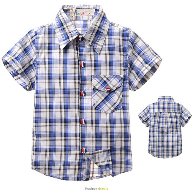 2014 new summer boys shirts children plaid checked shirt kids short sleeve shirt free ship(China (Mainland))