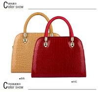 new 2013 fashion women leather handbags designers brand messenger bag red crocodile grain vintage genuine leather totes items