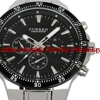 New arriving 2013 Executive Officer Celebrity Black Master Steel Tachymeter Water Sports Men Watch free shipping