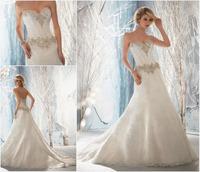 Elegant Beach Sweetheart Sleeveless Beading Pleat Lace Court Train Wedding Dresses 2013 Free Shipping