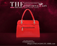 new 2013  women leather handbags designers brand messenger bag 4 colors crocodile grain vintage genuine leather totes famous