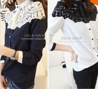 New Women Blouses Fashion Cape-style Lace Shoulder Chiffon Shirts 2 Colors WS18012