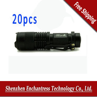 FreeShipping 20pcs/lot UltraFire sk68 3 mode 7W 350lm Lumen CREE Focus Adjust Zoom LED mini Flashlight torch