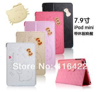 2014 New Arrival Hello Kitty Flip Leather Case for ipad Mini puoch Free Shipping Retail 1pc sample high quality(China (Mainland))