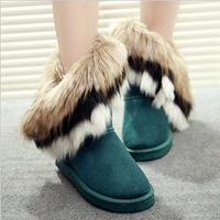 Free shipping 2013 snow boots fox fur boots winter thermal platform flat heel medium-leg boots