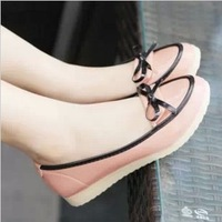 Free shipping 2013 autumn color block platform single shoes low-heeled bow shallow mouth platform wedges female shoes