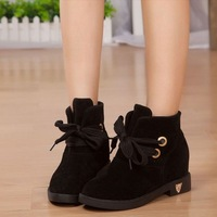 Autumn and winter flat heel boots female low-heeled elevator lacing martin boots round toe wedges flat boots women's shoes