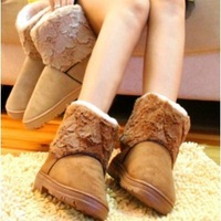 Free shipping Leather double layer of the love boots plush boots medium-leg female boots snow bootswomen cotton-padded shoes