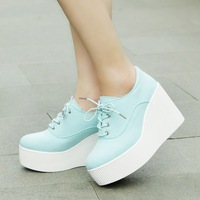 Free shipping 2013vivi lacing wedges platform shoes canvas fashion HARAJUKU single shoes women's shoes