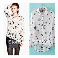 cute star pattern women chiffon blouses shirt cotton lapel collar fashion lady casual basic tops long sleeves free shipping