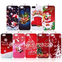 50pcs/lot Hot Items Cute Cartoon Christmas Picture Christmas Tree Jingle Bell Hard Plastic Case for IPhone 4 4S