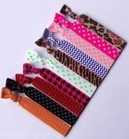 polka dots&animals & chevron&clover  printed FOE  hair ties foldover  elastic hair ties wholesale  100 pcs//ot   free  shipping