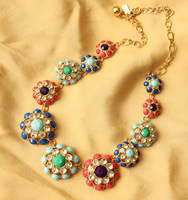Fashion accessories female ks sweet all-match dot multicolour flower cutout necklace