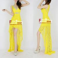 Fashion 2013 V-neck lace fish tail bride evening dress formal dress long design one-piece dress h0547