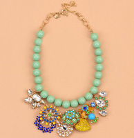 Llk new arrival pastel green beads full rhinestone flower necklace luxury fashion dinner party accessories flower