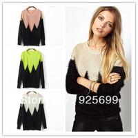 autumn winter women sweater cute w wave patch color block fur like kint coat stylish lady outwear o neck free shipping