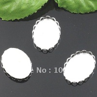 Free ship!!! 500pcs/lot 13*18MM round  silver Cameo Cab Base Setting Pendant finding pendant finding