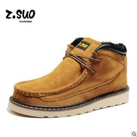 Free shipping ZSUO Men winter cotton inside Boots genuine leather Cowhide fashion martin boots pointed toe fur lined shoes