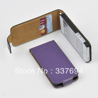 For Apple iPhone 5 5S GENUINE LEATHER Card Holder Top Filp Wallet Case Cover PURPLE  O-TF-PL Free shipping