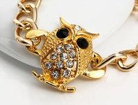 Free Shipping Wholesale jewelry ew Arrived Fashion Gold Owl Chain Bracelets