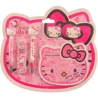 Free shipping 2 sets/lot, Hello kitty Stationery Sets (6IN1) Automatic pencil + eraser + notepad Lovely school supplies