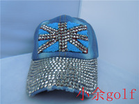 Summer women's torx flag diamond rhinestone denim baseball cap benn fashion baseball cap