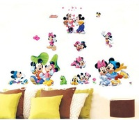 Free Shipping wholesale 5PC cute lovely mickey mouse Wall stickers decal for Removable Baby Room Art Kids Nursery  Mural Sticker