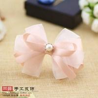 (MIN ORDER $15)Korean handmade Juan yarn elegant bow hair clip p143