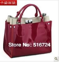 Free Shipping new fashion full leather patent leather handbag lady bag