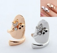 Wholesale 1PC 2013 New Arrived Fashion Korean Style Personality Cute Cat Rhinestone Factory Price Open Nail Ring JR43