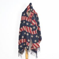 Free shipping New fashion female scarf tassel large cape plus lengthen thickening autumn and winter Scarves usa National flag