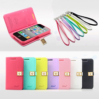 Fashion Slim Ailun Leather Flip Cover Shell Case With Chain For iPhone 4 4S 5 5S 5TH 10pcs/lot