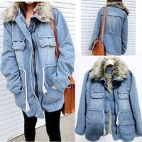 Women Thicken Jean Winter Coat Denim Faux Fur Collar Parka Warm Jacket Overcoat Outwear M,L,Blue,Retail,D103,Free Shipping