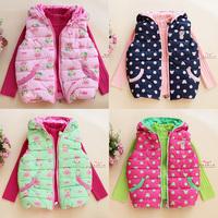 2013 clothing with a hood cotton vest baby cartoon waistcoat clip cotton vest female child outerwear multicolor