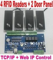 RFID Lock DIY Kit  2 Door Access controller panel PCB Board with TCP/IP + 4 pcs RFID ID Card Reader Wiegand26/34+Software Progra