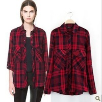 Fashion Plaid preppy style long-sleeve adjustable double pocket irregular sweep cotton shirt Casual vintage women's female KKS26