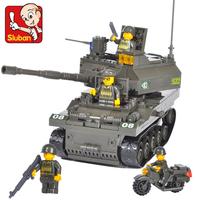 Sluban small car toy model tank car tank assembling building blocks diy toys for boys gift